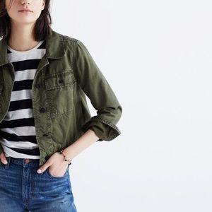 Madewell Rivet & Thread Crop Green Jacket